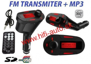 FM MP3 Transmitter USB SD - červený
