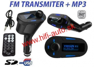 FM MP3 Transmitter USB SD - modrý